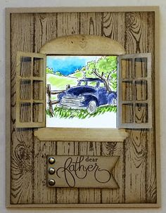 Art Impressions Windows to the World: Antiques window. Handmade Father's Day card.