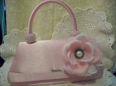 Vintage satin clutch with tattered rose and by UpcycledRose, $15.00
