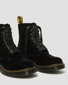 1460 Pascal Velvet | All Womens | Dr Martens Official Site Dr. Martens, Dr Martens 1460, Velvet Ankle Boots, Goodyear Welt, Combat Boots, Pairs, Heels, Fashion, Heel