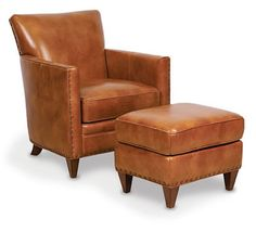Leather Chair Ottoman Dining Chairs Modern 3183 Best Ottomans Images Logan In Medium Brown Furniture Sofa Club