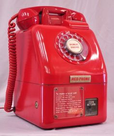 VINTAGE RETRO RED ROTARY DIAL PUBLIC PAYPHONE TELEPHONE CA 1960's