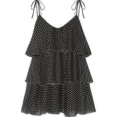 Lisa Marie Fernandez Imaan tiered polka-dot cotton-voile mini dress (16.270 ARS) ❤ liked on Polyvore featuring dresses, tops, vestidos, lisa marie fernandez, polka dot mini dress, black white polka dot dress, short dresses, mini dress and plunge mini dress