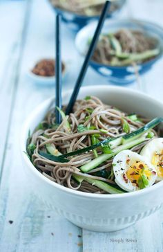 Soba Noodles Salad with cucumbers, scallions, cilantro, eggs, and a ginger, lime, sesame oil, honey, soy, rice vinegar dressing @Reem Rizvi