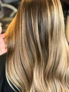 Blonde balayage color melt by Kim Wallace