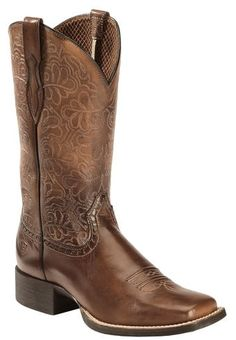 Ariat Rich Brown Round Up Remuda Cowgirl Boots - Square Toe - Country Outfitter Justin Boots, Brown Cowgirl Boots, Cowboy Boots Women, Outfits With Cowgirl Boots, Girls Western Boots, Cowgirl Dresses, Cowgirl Clothing, Cowgirl Fashion, Cow Girl