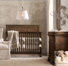 RH Baby & Child's Boy Nursery Collections:Shop baby cribs at Restoration Hardware Baby & Child. All cribs convert to toddler beds and are JPMA-certified to comply with the most rigorous safety standards. Map Nursery, Travel Nursery, Nursery Bedding, Nursery Themes, Nursery Room, Nursery Ideas, Nursery Decor, Nautical Nursery, Room Themes