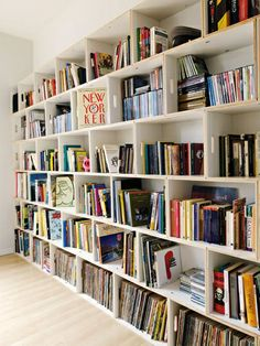Modular crate bookshelves. Cool idea! Lord knows I always need space for more books!