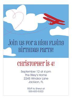 Lola Lorena Digital Designs Biplane Invitation : Boy Birthday Invitations