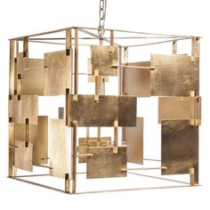 ARLO G - GOLD LEAF  SQUARE CHANDELIER WITH ABSTRACT SQUARE & RECTANGULAR…