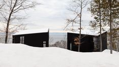 The brothers that commissioned Atelier Pierre Thibault to create them a shared weekend house each has a separate black block to accommodate their family. Minimalist Architecture, Modern Architecture, Wooden Steps, Garden Floor, Best Architects, My Ideal Home, Weekend House, Snow Scenes, Arquitetura