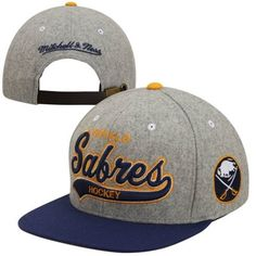 df6c6fc1306 Mitchell   Ness Buffalo Sabres Vintage Tailsweep Melton Adjustable Hat -  Gray