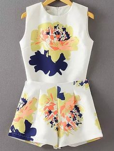 White Sleeveless Floral Top With High Waist Shorts 25.67