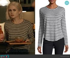 Liv's grey striped long sleeve tee on iZombie Net, Other Outfits, Green Jacket, Striped Tee, Printed Blouse, Grey Stripes, Cashmere Sweaters, Fanfiction, Twilight