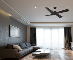 With its sharp minimalist design the ceiling fan is the perfect compliment to any modern interior. Black Ceiling Fan, Ceiling Fans, Minimalist Design, Minimalist Fashion, Sunil Gupta, Modern Interior, Interior Design, Bedroom Ceiling, Living Spaces