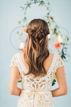 Stunning half-up, half-down hairdo   Photo by Jennifer Fujikawa   Hair by Megan Repp