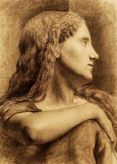Charcoal Drawing by John William Waterhouse of Mary Waterhouse