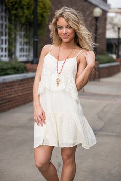 Party At The Punch Bowl Dress, Cream || Where you go the party follows! That is, if you're wearing this dress! People are just drawn to this cream lace dress! There's something so inviting and ad totally exciting about it!