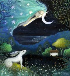 Moon Dream A fairytale art print by Amanda by earthangelsarts, $24.00