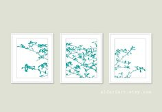 Contemporary Nature Wall Art  Tree Triptych Woodland Home Decor Tree Leaves and Branches Digital Print Set Fall Decor