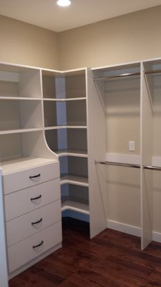 White Wooden Corner Closet Shelves With Stainless Steel Cloth Hooks And Drawers Closet Redo, Walk In Closet Design, Closet Remodel, Master Bedroom Closet, Kid Closet, Closet Designs, Closet Space, Small Walk In Closet Ideas, Small Walk In Wardrobe