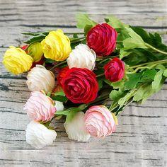 Aliexpress.com: kup 1 Szt Sztuczne piwonia Jaskier Asiaticus fałszywe Kwiaty jedwabiu flores artificiales fleur do dekoracji Ślubnych tanie Kwiat od zaufanych dostawców artificial ranunculus na Blingbling