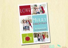 Love Joy Merry Christmas Family Photo Christmas by DesignBugStudio, $16.00