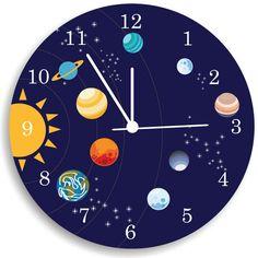 Children Wall Clock, Nursery Room Decor The solar system Boys WALL CLOCK on Etsy, $44.00