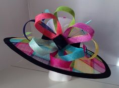 Multi color Sinamay wide brim hat trimmed in black Sinamay. This was custom made for a customer in Texas - but one can be made for you in a variety of trim colors. Head size and includes a sizing band to adjust for a comfortable fit. Sinamay Hats, Millinery Hats, Fascinators, Headpieces, Sisal, African Hats, African Wear, Funny Hats, Floppy Hats