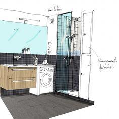 Croquis coaching déco petite salle de bains - coaching déco aménagement petite salle de bains  http://www.homelisty.com/coaching-deco-amenagement-relooking-petite-salle-de-bains/