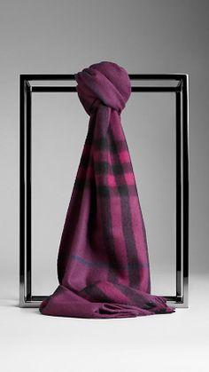 Burberry Cashmere Scarf $395.00 DAMSON MAGENTA CHECK #NatickMallFall