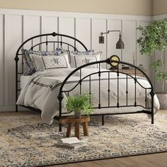 Charlton Home Chung Queen Upholstered Standard Bed Wrought Iron Bed Frames, Wrought Iron Headboard, Metal Headboards, Cama Vintage, Vintage Beds, Twin Daybed With Trundle, Steel Bed Frame, Headboard And Footboard, Headboard Ideas
