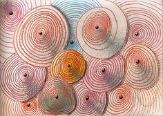 """""""spirals"""", drawing on paper, 21 x 15 cm, ©matthias hennig 2013 #drawing #artwork #matthias #hennig #color www.matthiashennig.de"""
