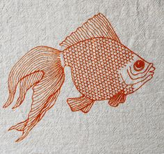 Flour Sack Dish Towel  Goldfish Screen Printed in by theheated