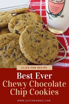 These really are the best ever chewy Chocolate Chip Cookies. Such a simply recipe with some great tips to creating a perfect cookie. Delicious Cookie Recipes, Best Cookie Recipes, Best Dessert Recipes, Fun Desserts, Baking Recipes, Cake Recipes, Kiwi Recipes, Lunch Box Recipes, Simply Recipes