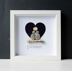Framed Pebble Art - Pebble Lovers - Stone People - Pebble Couple - Heart Frame - Engagement Wedding Gift - Personalised Pebble Art - Moon by NaturalClocks on Etsy https://www.etsy.com/listing/585458421/framed-pebble-art-pebble-lovers-stone