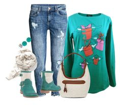 Camiseta algodon verde lutasha, vaqueros, botines, bolso