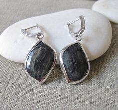 Black Stone Earrings Rutile Earrings Stone Earrings by Belesas