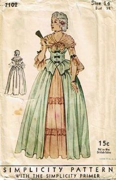 Vintage Colonial Costume Pattern by Simplicity, # Vintage Costumes, Vintage Outfits, Tudor Costumes, Vintage Gowns, Vintage Dress, Retro Fashion, Vintage Fashion, Hippie Fashion, 1930s Fashion