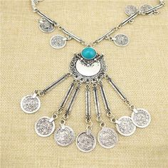 Bohemian Vintage Long Pendant Silver Chain Tassel Necklace for women – hiblings Long Silver Necklace, Long Pendant Necklace, Boho Necklace, Silver Necklaces, Silver Jewelry, Silver Rings, Gold Jewellery, Diamond Jewelry, Letter Charm Necklace