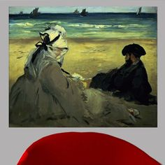 Wallhogs Manet on the Beach (1873) Poster Wall Mural Size:
