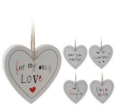 White Hanging Heart Decoration 14cm - 5 Asst
