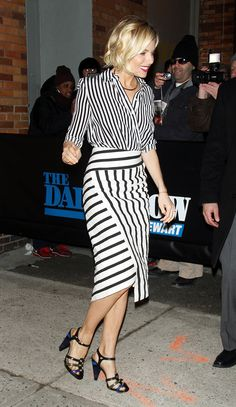 Mis-matching stripes look effortlessly chic on Sienna Miller as noted by Vogue's 10 Best Dressed of the Week