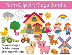 New Product! 50% OFF the first 48 hours!Farm Clip Art Mega Bundle for…