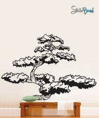 Newest addition to the living room!    Vinyl Wall Decal Sticker Japanese Bonsai Tree