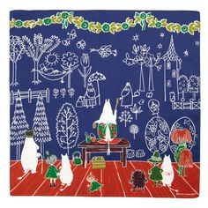 Amazon.co.jp: MOOMIN Tribute Works ハンカチ 50×50cm ママの壁紙 ブルー: ホーム&キッチン