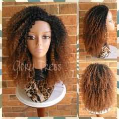 On 3c Kinky Curly Half Wig Ombre Auburn Wig Big Curly Afro Wig African... ($59) ❤ liked on Polyvore featuring beauty products, haircare, hair styling tools, bath & beauty, grey, hair care, wigs and curly hair care