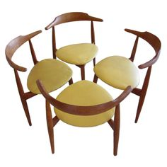Set of Four Hans Wegner - Fritz Hansen Three Legged Chairs