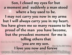 Son...I will always carry you in my heart. Happy 19th Birthday Will !!! Love Mum xoxo