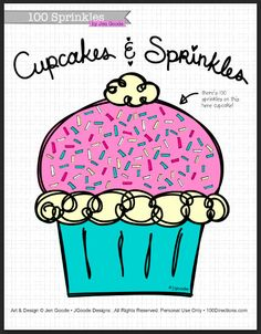 Free printable activity coloring page 100 sprinkles art by jen goode