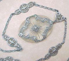 Art Deco Filigree Necklace Camphor Glass & Faux Diamond